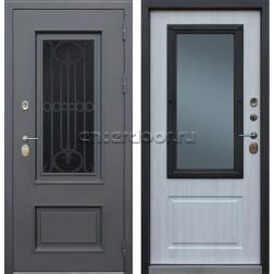 Уличная входная стальная дверь с терморазрывом АСД Аляска 3К с окном и ковкой (Муар коричневый / Сосна белая 50977-94)