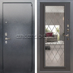 Входная стальная дверь Лекс 3 Барк с Зеркалом (Серый букле / Софт графит) панель №100