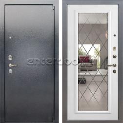 Входная стальная дверь Лекс 3 Барк с Зеркалом (Серый букле / Софт белый снег) панель №101