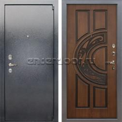 Входная стальная дверь Лекс 3 Барк (Серый букле / Голден патина черная) панель №27