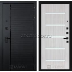 Входная металлическая дверь Лабиринт Piano 01 (Чёрный кварц / Сандал белый)