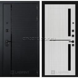 Входная металлическая дверь Лабиринт Piano 02 (Чёрный кварц / Сандал белый)