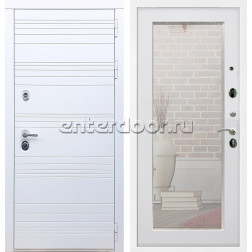 Входная металлическая дверь Армада 14 Зеркало 2XL (Белый матовый / Белый ясень)