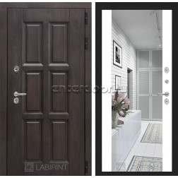 Уличная дверь Лабиринт Лондон Термо с Зеркалом Максимум (Винорит Алмон 28 / Белый софт)