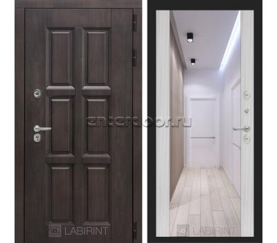 Уличная дверь Лабиринт Лондон Термо с Зеркалом Максимум (Винорит Алмон 28 / Сандал белый)