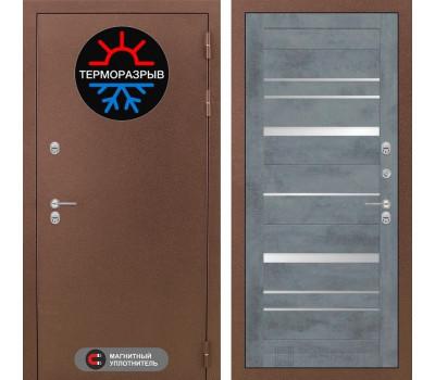 Уличная металлическая дверь Лабиринт Термо Магнит 20 (Антик медный / Бетон темный)