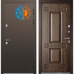 Уличная входная металлическая дверь с терморазрывом Бульдорс Термо-2 Орех грецкий ТВ-2
