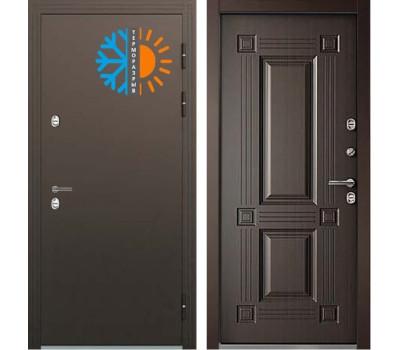 Уличная входная металлическая дверь с терморазрывом Бульдорс Термо-2 Венге Конго ТВ-2