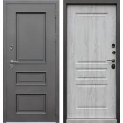 Уличная входная стальная дверь с терморазрывом АСД Аляска 3К (Муар коричневый / Сосна белая)