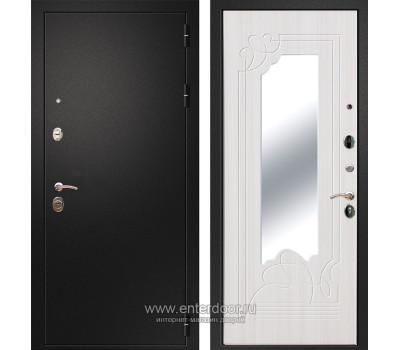 Входная металлическая дверь Армада 1A с Зеркалом ФЛЗ-147 (Черный муар / Ясень белый)