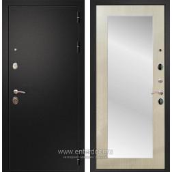 Входная металлическая дверь Армада 1A Пастораль с Зеркалом (Черный муар / Дуб белёный)