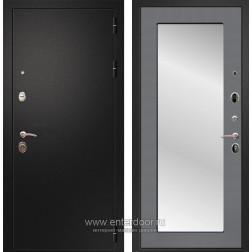 Входная металлическая дверь Армада 1A Пастораль с Зеркалом (Черный муар / Графит софт)