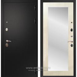 Входная металлическая дверь Армада 1A Пастораль с Зеркалом (Черный муар / Лиственница беж)