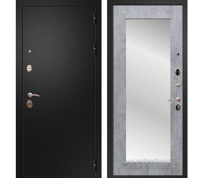 Входная металлическая дверь Армада 1A Пастораль с Зеркалом (Черный муар / Бетон темный)