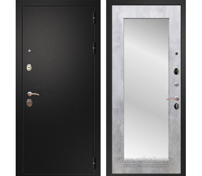 Входная металлическая дверь Армада 1A Пастораль с Зеркалом (Черный муар / Бетон светлый)