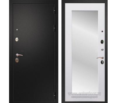 Входная металлическая дверь Армада 1A Пастораль с Зеркалом (Черный муар / Белый матовый)