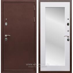 Входная металлическая дверь Армада 5А с зеркалом Пастораль (Медный антик / Белый матовый)