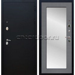 Входная металлическая дверь Армада 5А с Зеркалом Пастораль (Чёрный муар / Графит софт)
