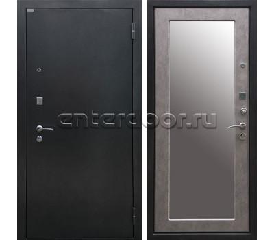 Входная металлическая дверь Ратибор Классик 3К Зеркало (Чёрное Серебро / Бетон светлый)