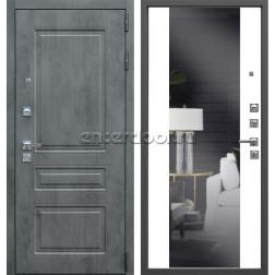 Входная металлическая дверь АСД Лира Зеркало (Бетон темный / Белый матовый)