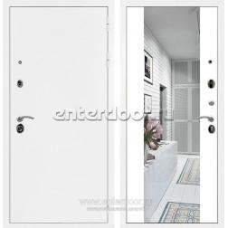 Входная металлическая дверь Армада 5А с зеркалом СБ-16 (Белая шагрень / Белый матовый)