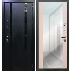 Входная дверь Персона Гранд-1 с Зеркалом (Кора чёрная / Сандал белый)