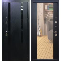 Входная металлическая дверь Персона Гранд-1 с Зеркалом (Кора чёрная / Венге)