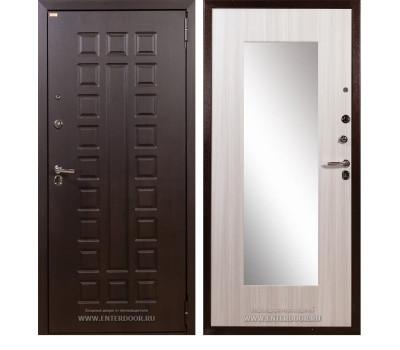 Входная металлическая дверь Лекс Гладиатор Нео 2К Зеркало Сандал белый