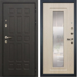 Входная металлическая дверь Лекс 8 Сенатор с зеркалом Дуб белёный (панель №23)
