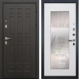 Входная металлическая дверь Лекс 8 Сенатор с зеркалом Ясень белый (панель №37)