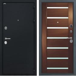 Входная дверь Интекрон Греция Фоджа Багет Шпон (Черный шелк / Дуб бургундский)