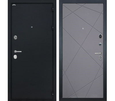 Входная стальная дверь Интекрон Колизей Лучи-М (Черный шелк / Софт Графит)