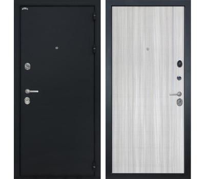 Входная стальная дверь Интекрон Колизей L-5 (Чёрный шелк / Сандал белый)