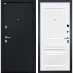 Входная дверь Интекрон Греция Валентия-2 Шпон (Черный шелк / Ясень жемчуг)