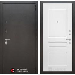Входная дверь Лабиринт Сильвер 3 (Антик темное серебро / Белый софт)