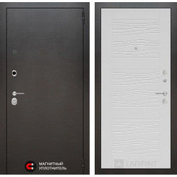Входная дверь Лабиринт Сильвер 6 (Антик темное серебро / Белое дерево)