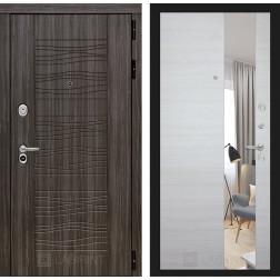 Входная дверь Лабиринт Сканди с зеркалом (Дарк Грей / Акация светлая)