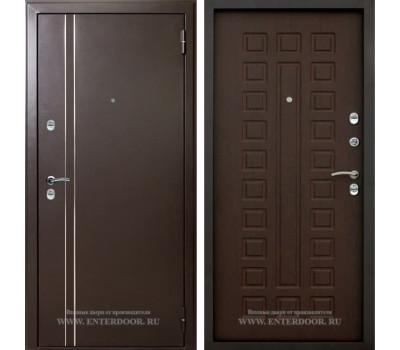 Входная уличная дверь с терморазрывом АСД 3К Арктика (Муар коричневый / Орех премиум)