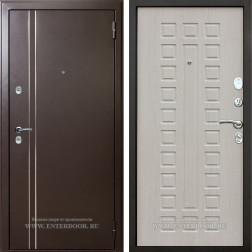 Дверь с терморазрывом АСД 3К Арктика  (Муар коричневый / Дуб беленый)