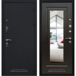 Входная дверь Кондор Престиж с Зеркалом (Черный шелк / Венге)