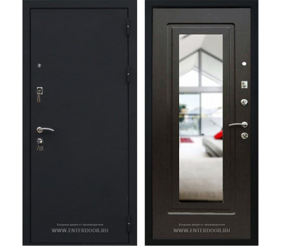 Входная металлическая дверь Кондор Престиж с зеркалом (Черный шелк / Венге)