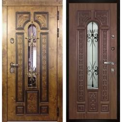 Уличная входная дверь со стеклом и ковкой Арктика (Палисандр / Дуб золотой)