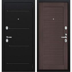 Входная стальная дверь Техно 2 (Муар черный / Орех рифленый)