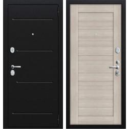 Входная стальная дверь Техно 2 (Муар черный / Капучино)
