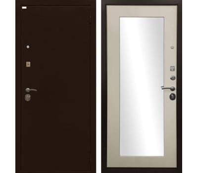 Входная металлическая дверь Ратибор Оптима 3К с зеркалом (Медный антик / Лиственница беж)
