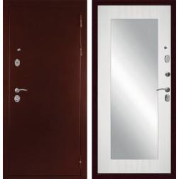Входная металлическая дверь с зеркалом Дива С-503 (Антик медный / Сандал белый)