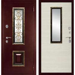 Входная уличная дверь со стеклопакетом Дива К-04 (Антик медный / Клён канадский светлый)