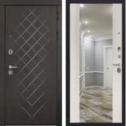 Входная металлическая дверь Президент Люкс с зеркалом (Сандал белый)