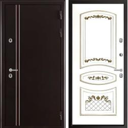 Уличная входная дверь с терморазрывом Норд Алина-2 (Муар коричневый / Эмаль белая)