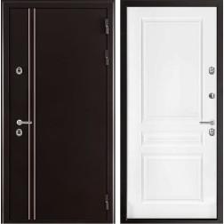 Уличная входная дверь с терморазрывом Норд Турин (Муар коричневый / Эмаль белая)